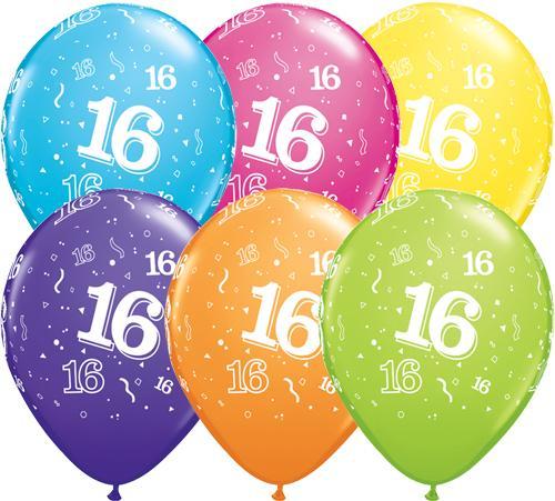 16th Birthday Latex Balloons 6s